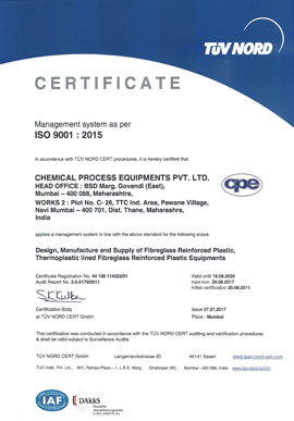 Chemical Process Equipment Exporters Pvt. Ltd (CPEL) Quality Supplier & Exporters In India Certificate 1
