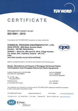 Chemical Process Equipment Exporters Pvt. Ltd (CPEL) Quality Supplier & Exporters In India Certificate 2